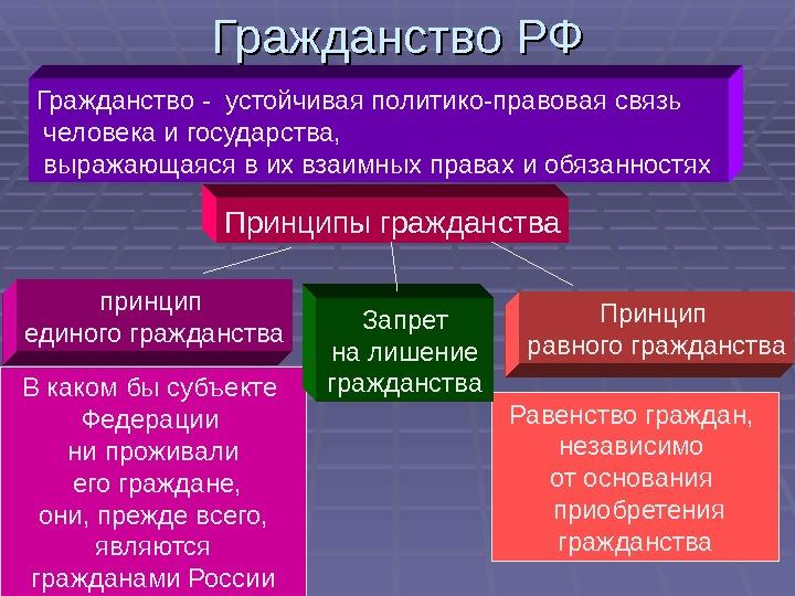 Принципы гражданства – Понятие гражданства, принципы гражданства РФ. Конституционное право Российской Федерации